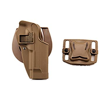haoYK Tactical Airsoft Pistola ocultación Draw rightded paleta cintura cinturón Holster bolsa para M9 M92 (Negro)