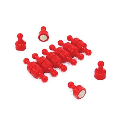 Magnet Expert - Calamite a birillo da lavagnetta per ufficio e frigorifero, 12 x 21 mm, colore: Rosso (Confezione da 12) Magnet Expert Ltd F4MSR-12