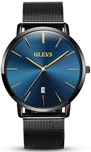 OLEVS Men s Wrist Watch Ultra Thin Fashion Minimalist Quartz Watch Simple Analog Date Display 30 Meters Waterproof Depth Modern Dress Watches for Men Stainless Steel Black Mesh Band