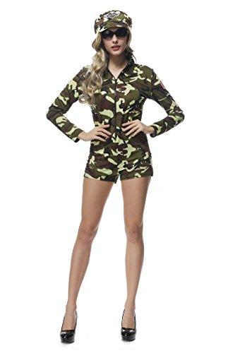 Bslingerie Ladies Paratrooper Halloween Costume Bodysuit (Green Camo, M)