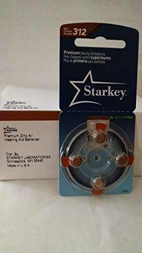 Starkey 312 Premium Hearing Aid Batteries: Brown Tab: 40 Pack : Mercury Free ()