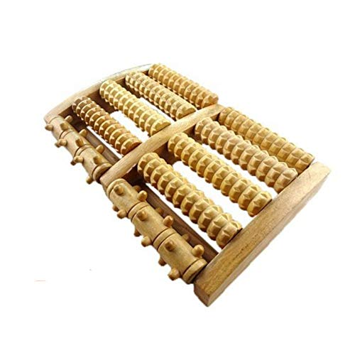 JINPENG 100% Natural Wood, Foot Massager Roller for Foot Pain, Pressure and Body Relaxation, Portable Reversible Massage Tool