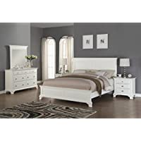 Roundhill Furniture Laveno 012 White Wood Bedroom Furniture Set, Includes King Bed, Dresser, Mirror and 2 Night Stands