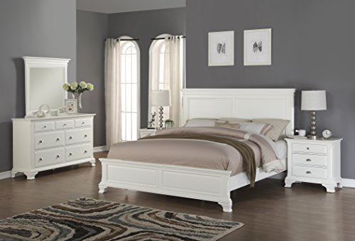 (Roundhill Furniture Laveno 012 White Wood Bedroom Furniture Set, Includes Queen Bed, Dresser, Mirror and 2 Night)