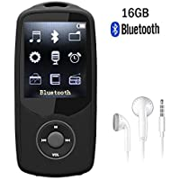 CFZC Bluetooth MP3 Player 16GB 50 Hours Playback Portable Music Player Sport Media Player (Supports up to 64GB)black