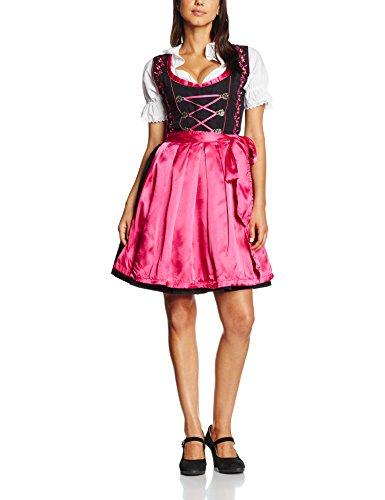 Gaudi-Leathers Dirndl Set 3 Teilig. Trachtenkleid, Dirndl Bluse, passender Schürze in Schwarz (Pink Schwarz 050), 38