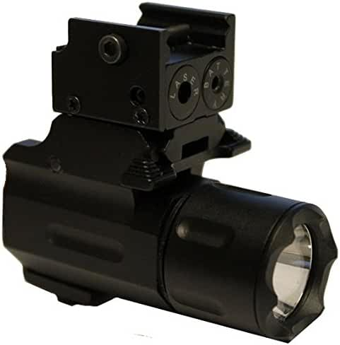 Ultimate Arms Gear Tactical Micro Dual 160 Lumens QD CREE LED Light Flashlight & Red Dot Laser Sight Combo For Beretta 92 92A1 96 PX4 Compact Gun Pistol Firearm Handgun Compact & Sub Compact Models With Weaver / Picatinny Base Rail Mount