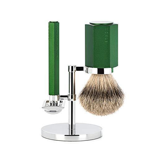 MÜHLE HEXAGON Forest 3-Piece Silvertip Badger Shaving Set