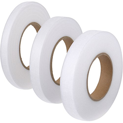 Shappy 3 Pieces 70 Yards Fabric Fusing Tape Hem Tape Adhesive Iron-on Hemming Tape Roll 10 mm, 15 mm, 20 mm Wide for Clothes ()