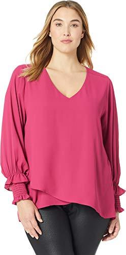Karen Kane Plus Women's Plus Size Smocked Sleeve Crossover Top Cherry 0X -