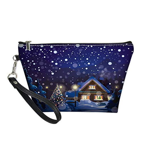 Portable Cosmetic Organizer Storage Bag,Winter Night Country Landscape with Little House Among Pine Trees and Snow,Travel Carrying Bag for Women (A House Among The Trees A Novel)
