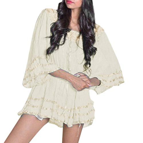 NRUTUP-Women Fashion Scoop Neck Vintage Lace Loose Batwing Sleeve Blouse Top Blouse(Beige,XL)