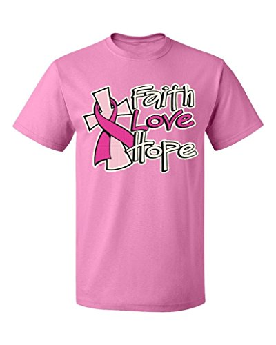 - P&B Faith Love Hope Breast Cancer Men's T-Shirt, XL, Azalea Pink