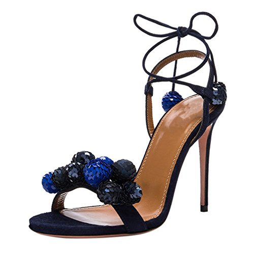 ENMAYER Mujeres Suede Tacones Altos Correas Cruzadas Sequins Sexy Party Dress Stiletto Sandalias Azul