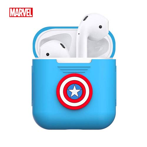 Marvel Captain America AirPods Case Shockproof Protective Premium Silicone Cover Skins Charging Case Compatible with Headphone Earphone Protector Apple Airpods 1 & AirPods 2 Avengers 4 Endgame ()