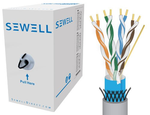 (Sewell SW-9421 PureRun Shielded Cat5e Bulk Cable - 1000 Feet (302 Meters) - Grey)