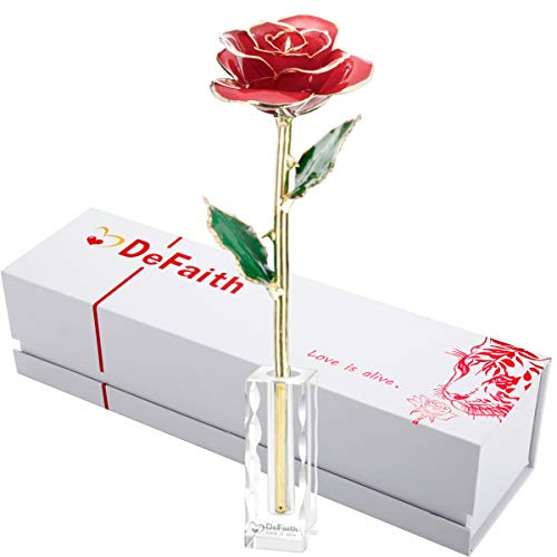 DEFAITH 24K Gold Dipped Rose Forever Gift, First Anniversary Birthday Keepsake Present Valentines Day Wedding Marriage Proposal Romantic Gifts for Her Wife Girlfriend Spouse, with Crystal Stand (One Year Anniversary Gift Ideas For Her)