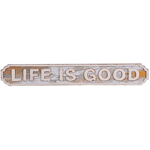 (NIKKY HOME Life is Good Rustic Wooden Wall Decorative Sign 28.66 x 0.91 x 4.13 Inches, White)