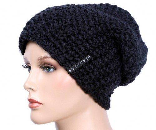 Slouch Beanie Häkelmütze Mütze für Damen und Herren vers. Farben Black,One Size