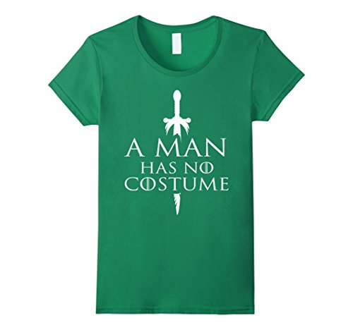 Tv Halloween Costume Contest (Womens A Man Has No Costume Vintage TShirt Funny Halloween Joke Tee Medium Kelly Green)