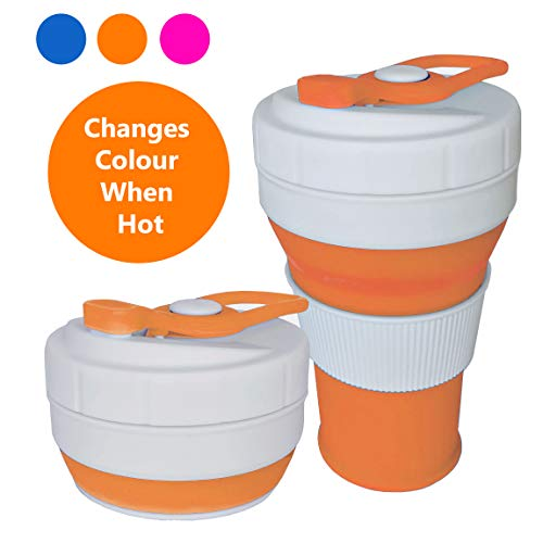 Moheeco Collapsible Coffee Cup - Changes Colour When Hot - Reusable, Leak Proof,...