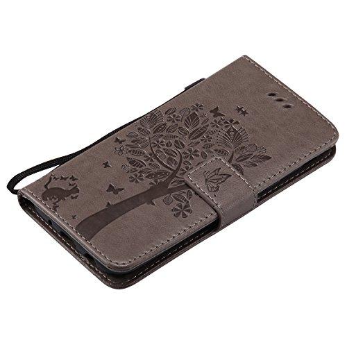 Galaxy J5 2017 Hülle,Samsung Galaxy J5 2017 Wallet Flip Hülle,Artfeel Stilvoll Geprägtes Muster Tasche,[Magnetverschluss] [Standfunktion] Leder Brieftasche Stoßfest Schutzhülle mit [Handschlaufe] Kred Grau