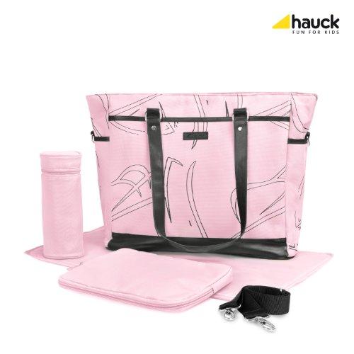 Hauck Wickeltasche Sammy inklusive Wickelunterlage, Utensilientasche und Flaschenhalter, rosa