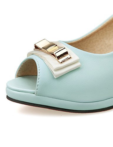 ShangYi Women's Shoes Heel Heels / Peep Toe / Platform Sandals / Heels Outdoor / Dress / Casual Blue / Pink / White / Beige Pink 7cc5K