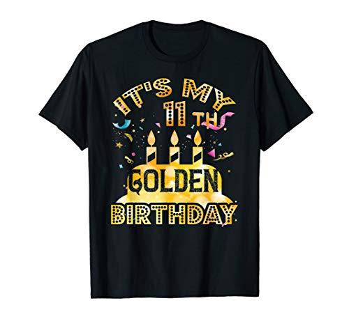 11th Birthday T-Shirt It's My 11th Golden Birthday Vintage (Centerpieces For Boy Birthday)