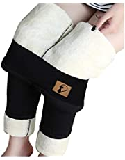 Lamb Wool Lined Leggings Ladies High Waist Printed Span Keep Warm Yoga Long Pants