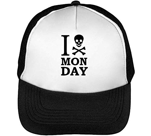 I Skull Monday Gorras Hombre Snapback Beisbol Negro Blanco