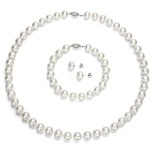 "Sterling Silver 9-9.5mm White Freshwater Cultured Pearl Necklace 18"" , Bracelet 7"" and Stud Earrings"