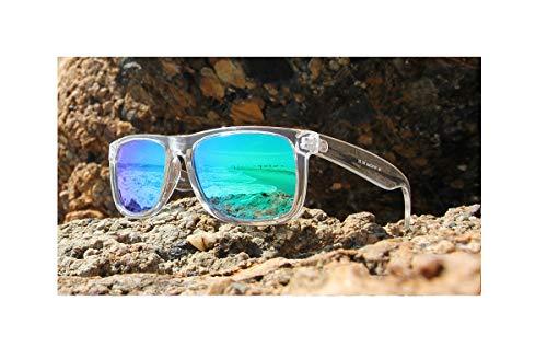 PZ Polarized Sunglasses for Women or Men - UV400 Gradient Color Mirror Lens- Retro Sports Beach (Transparent + Forest Green Mirror)