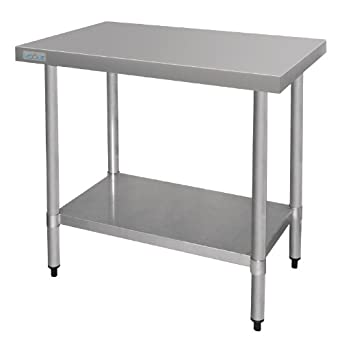 vogue stainless steel prep table 900mm kitchen restaurant catering