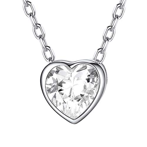 (Heart Necklace 925 Sterling Silver Cubic Zirconia CZ Love Heart Pendant Necklace Fashion Dainty Jewelry for Women Girls Her )