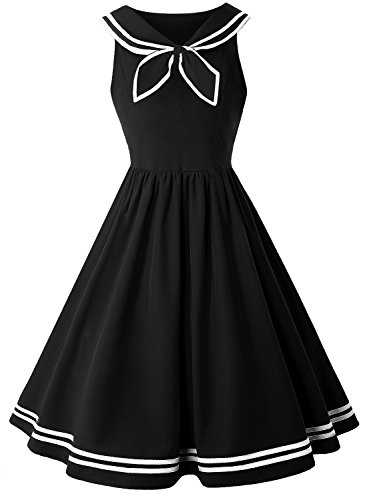 (ZAFUL Women Vintage Dress 1950s Nautical Style Summer Sailor Collar Sleeveless Cute Cocktail Party Swing)