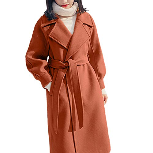 Long Woolen Coat for Women,Sunyastor Winter Warm Open Front Trench Parka Jacket Belt Overcoat Robe Outerwear