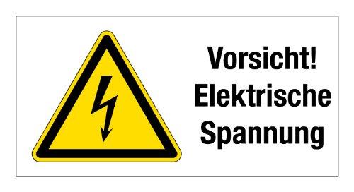 Warnschild aus Aluminium - Vorsicht! Elektrische Spannung - 20 X 10 ...