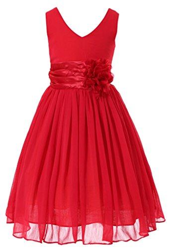 Bow Dream Flower Girl Dress Junior Bridesmaids V-Neckline Chiffon Red 16 -