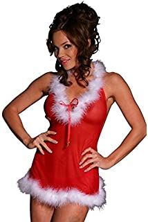 7d00f74be790d Blinkini Christmas Lingerie Sexy Santa Outift Babydoll Marabou Trim and  Jingle Bell Ribbon Ties