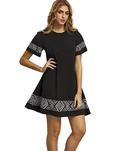 572a34e4734 Floerns Women s Casual Embroidered Short Sleeve Swing Tunic T Shirt Dress - Delocus  Store