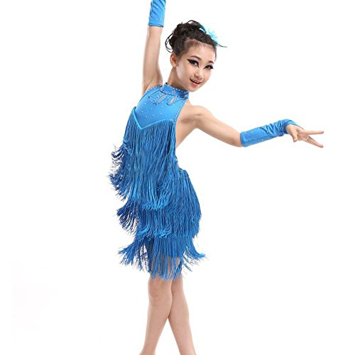 Jlong Kid Girls Sleeveless Halter Tassel Dress Latin Salsa Dancewear ()