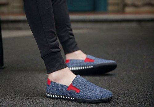 traspirante scuro estate stoffa uomo scarpe di tendenza uomo da Pechino da marea gamba selvatici pigro vecchie Scarpe WFL con casual scarpe marea una Blu Iwaxgw4q