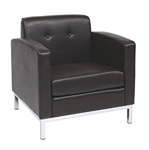 Beautiful AVE SIX Wall Street Faux Leather Armchair With Chrome Finish Base, Espresso