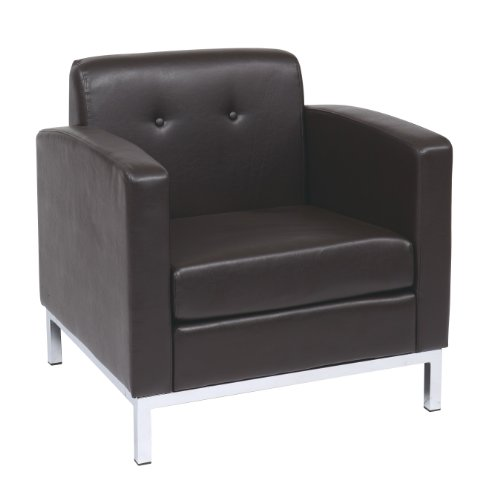 AVE SIX Wall Street Faux Leather Armchair with Chrome Finish Base, ()