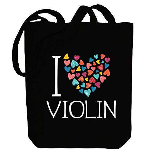 Idakoos hearts Bag colorful Tote I Violin love Canvas Instruments IrnB8Ifw4q