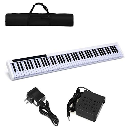 Costzon 88-Key Portable Digital Piano,Weighted Key Piano with External Speaker, Bluetooth Voice Function, MIDI Keyboard, Sustain Pedal, Power Supply and a Black Handbag (White)