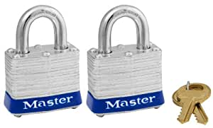 """Master Lock 3T 1-9/16"""" Wide Laminated Padlocks with 3/4"""" Shackle Height - 2 per Package Both Keyed Alike"""