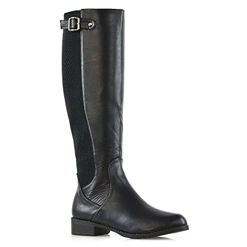 ESSEX GLAM Womens Knee High Boots Black Synthetic Leather Casual Stretch Low Heel Zip Riding Boots 10 B(M) US - Leather Stretch Heels