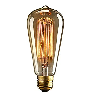 KINGSO Vintage Edison Bulbs 40W Squirrel Cage Filament Incandescent Antique Light Bulb for Home Light Fixtures E27 Base ST64 110V - 4 Pack